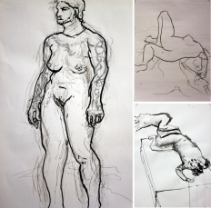 Drawing Explorations figure studies using ad hoc 'drawing tools,' main model: Eli Campanero,Western University, 2011.