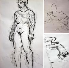 Drawing Explorations figure studies using ad hoc 'drawing tools,' main model: Eli Campanero,Western University, 2011.