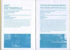 INK N' PAPER Resource Guide for Canadian Printmakers, produced with students in Professional Practices for Printmakers: 2013. limited edition of 100, handbound risograph books with silkscreen cover.