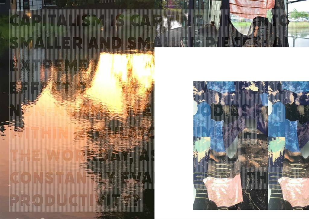 "page spread from ""Comedown - Sunrise Ceremony"" book that shows a series of images fragmented in a grid with white spaces, and text overtop that reads ""Capitalism is carving time into smaller and smaller pieces."""